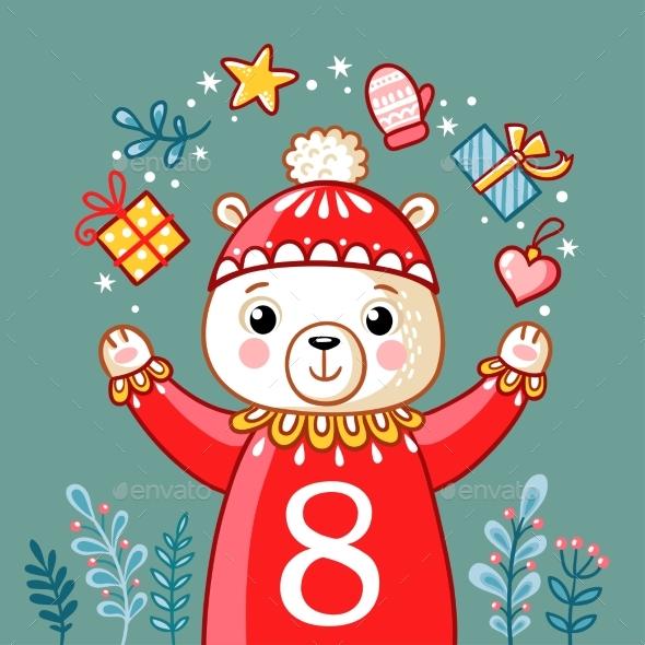 Christmas Polar Bear Juggles with Gifts