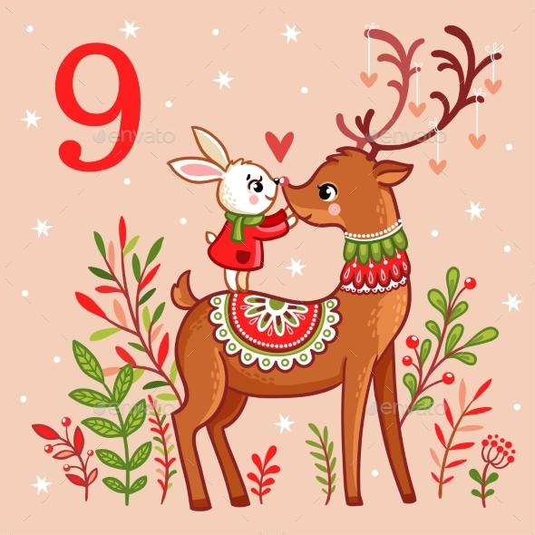 Bunny Standing on Christmas Reindeer