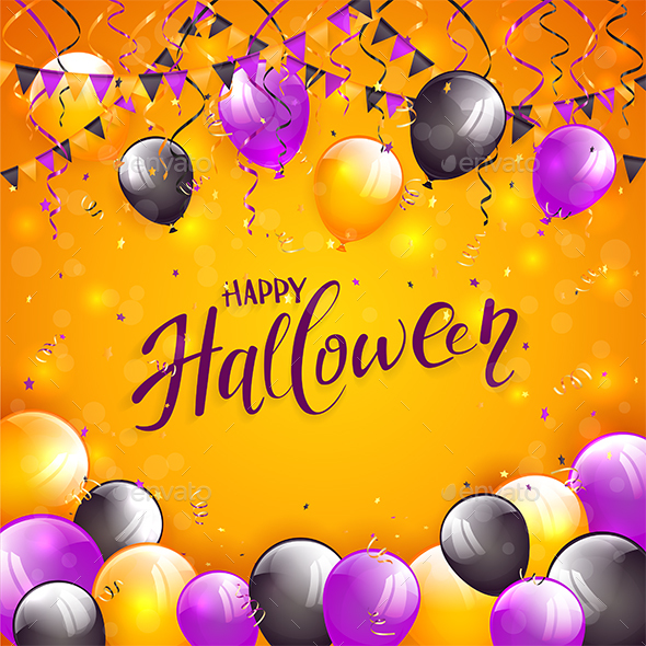 Orange Halloween Background with Balloons and Pennants