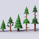10 Low Poly Pine Trees Pack - 3DOcean Item for Sale