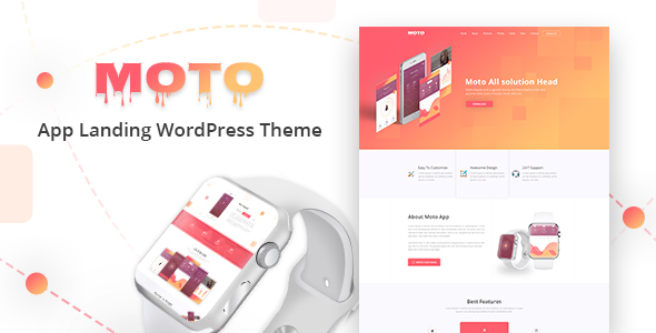Moto - App Landing Page WordPress Theme