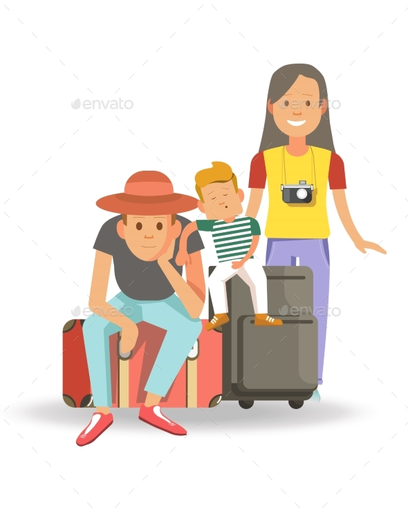 Family with Bags and Suitcases Ready for Journey