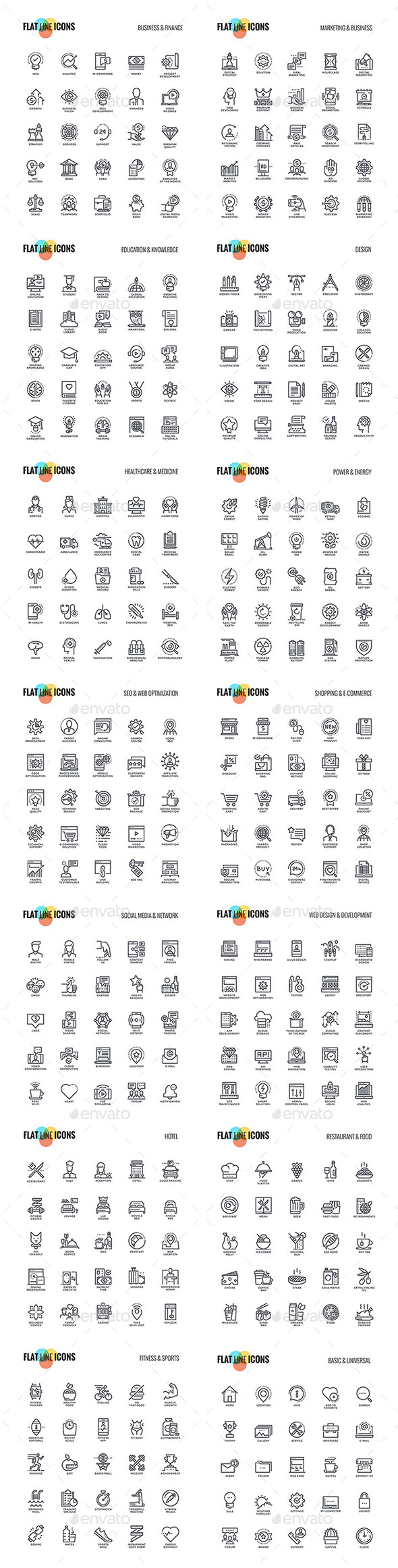Big Collection of Set Flat Line Icons