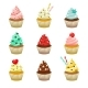 Vector Icon Set of Yummy Colored Cupcakes - GraphicRiver Item for Sale