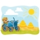 Vector Illustration of a Teddy Bear Tractor Driver - GraphicRiver Item for Sale