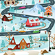 Winter Village With People Cars and Buildings Illustration - GraphicRiver Item for Sale