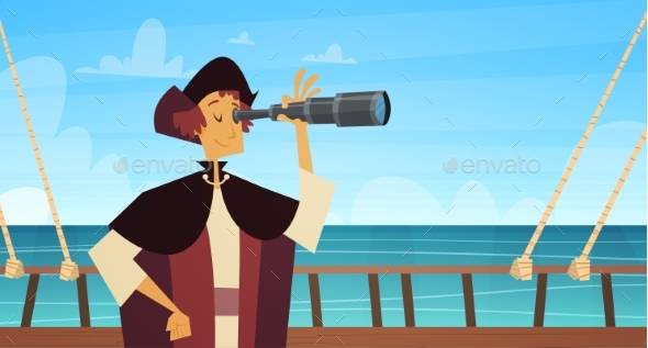 Man on Ship With Spyglass Happy Columbus Day