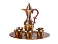 Golden arabian coffee pot with cups isolated - PhotoDune Item for Sale