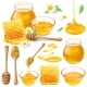 Set of Vector Illustrations of Honey in Honeycombs - GraphicRiver Item for Sale