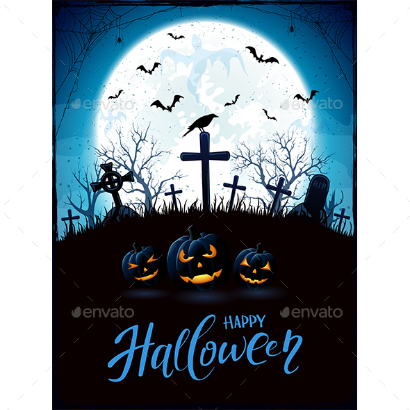 Halloween Theme with Pumpkins and Raven on Cemetery