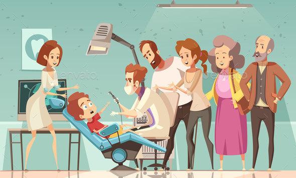 Dentist Treating Baby Cartoon Illustration