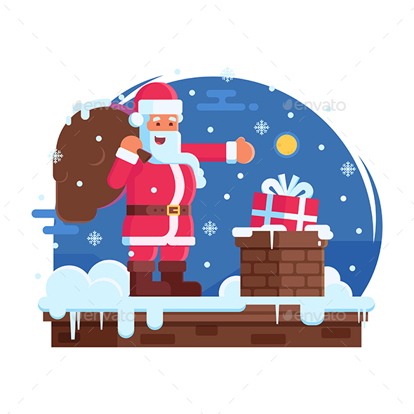 Happy Santa Claus and Roof Chimney