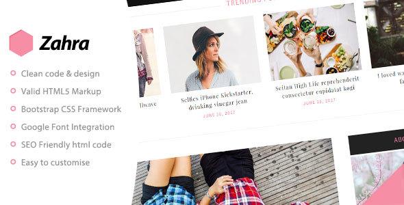 Zahra - Personal Blog Template