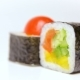 Chef Presentation of Japan Restaurant Rotation on White Noris Maki Sushi Rolls with Vegetables - VideoHive Item for Sale