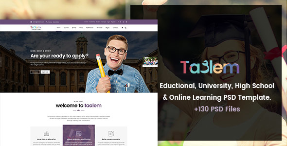 Taalem - Education, University & Online Learning PSD Template