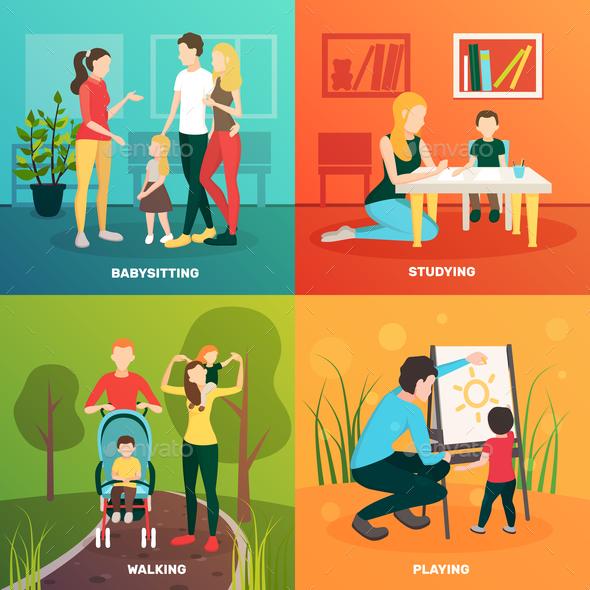 Child Nurse Family Design Concept