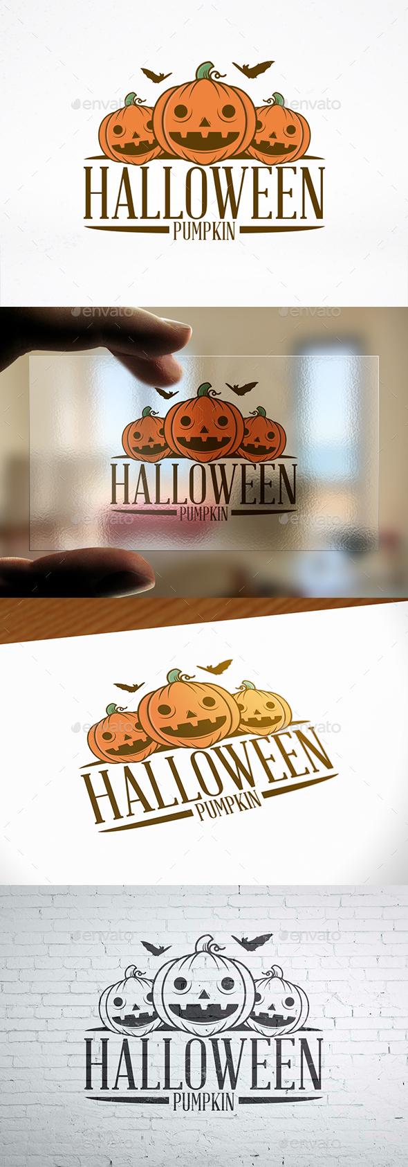 Halloween Pumpkin Illustrative Logo