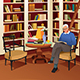 Senior Man Reading a Book in the Library - GraphicRiver Item for Sale