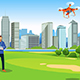 Man Flying Drone in a Park Illustration - GraphicRiver Item for Sale