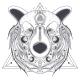 Bear Ornamental Head with Valknut Line Art Vector - GraphicRiver Item for Sale