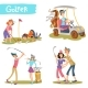 Golfers Cartoon Characters Vector Set - GraphicRiver Item for Sale