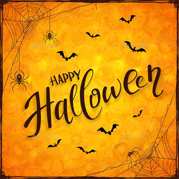 Orange Halloween Background with Spiders