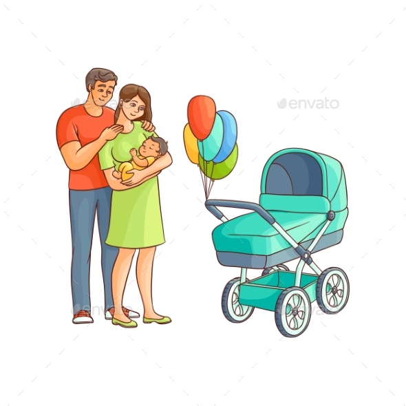 Adult Couple with Infant and Baby Stroller