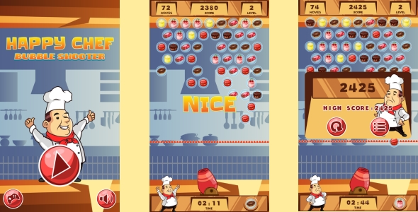 Happy Chef Bubble Shooter - HTML5 Game + Android (Construct 3 | Construct 2 | Capx) Download