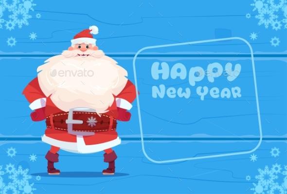 Santa Claus on Happy New Year Greeting Card