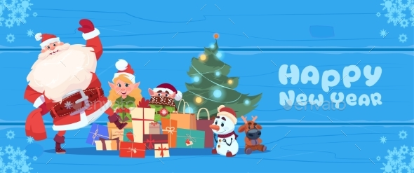 Santa Claus with Elves and Christmas Tree
