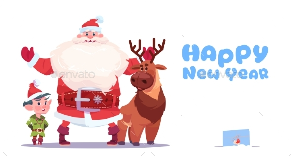 Santa Claus with Elves on Happy New Year Greeting