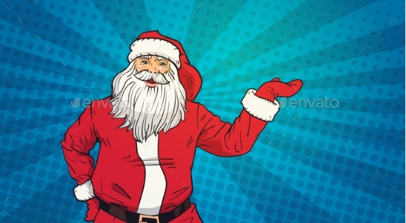 Santa Claus Holds Open Palm to Copy Space Pop Art