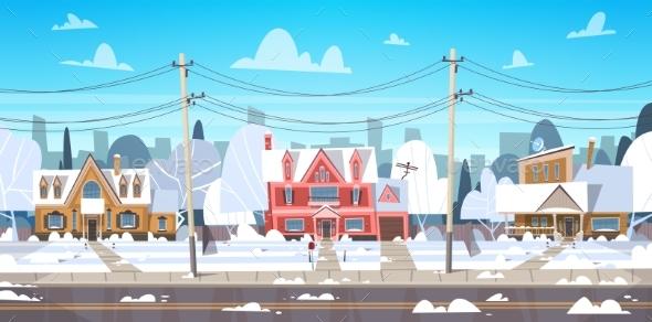 Village Winter Landscape House Buildings with Snow