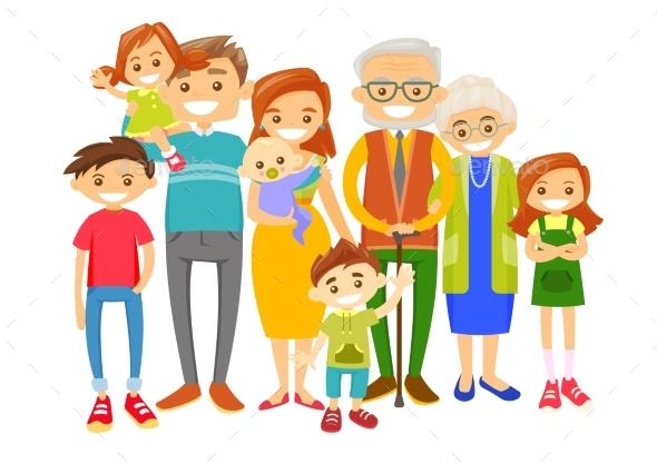 Extended Caucasian Smiling Family
