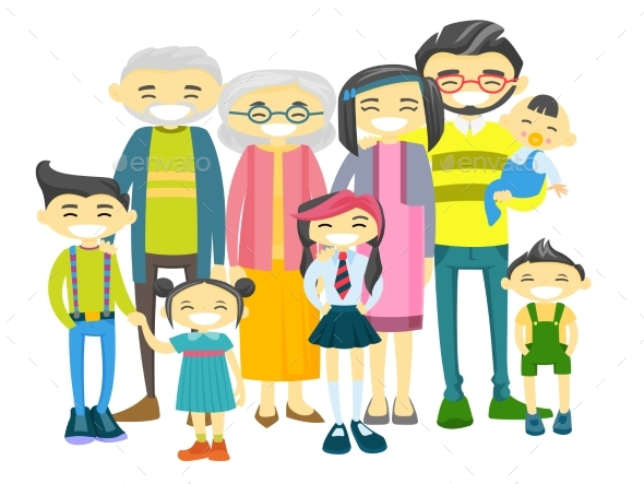 Extended Asian Family with Many Children