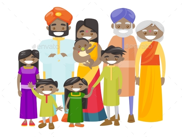 Extended Indian Family with Cheerful Smile