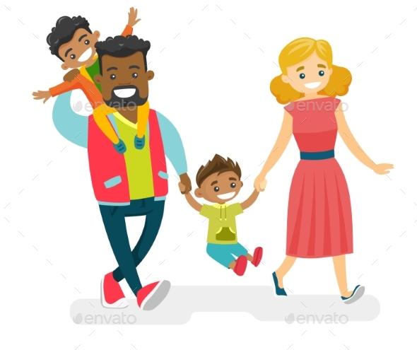 Multiracial Family Walking and Having Fun
