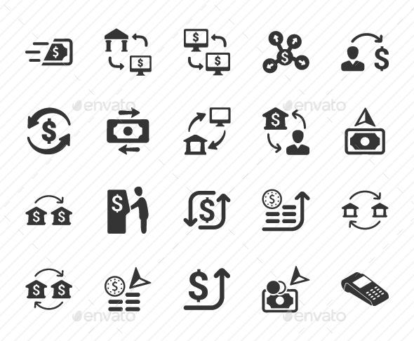 Money Transaction Icons - Gray Version