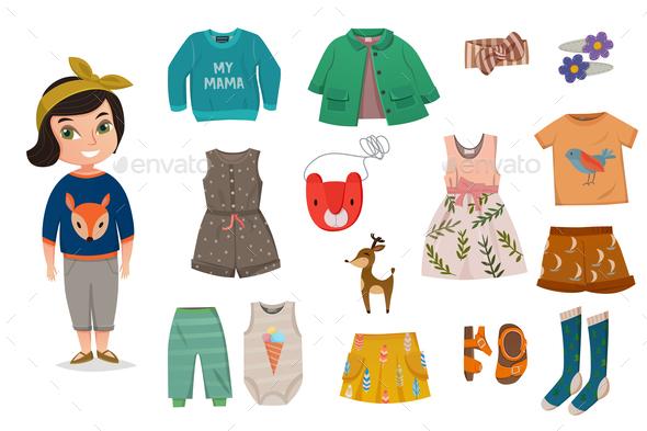 Flat Baby Girl Fashion Icon Set