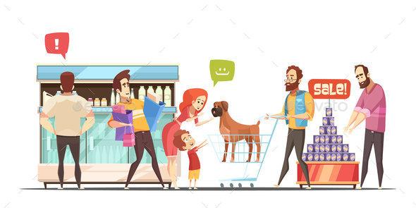 Family In Supermarket Design Concept