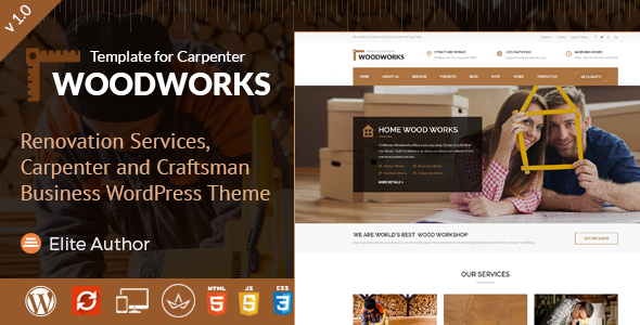 Wood Works - Carpenter and Craftsman Business WordPress Theme