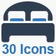 Hotel Services Icons Set - Blue Version - GraphicRiver Item for Sale