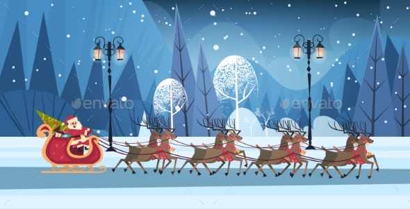 Santa Riding In Sledge With Reindeers, Merry