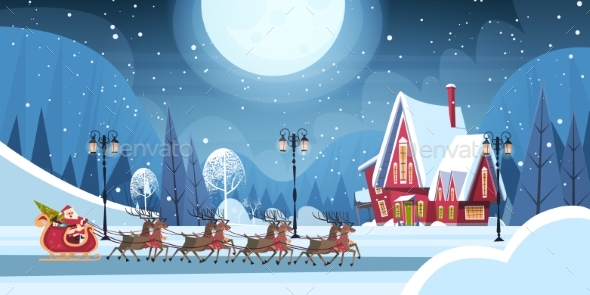 Santa Riding In Sledge With Reindeer
