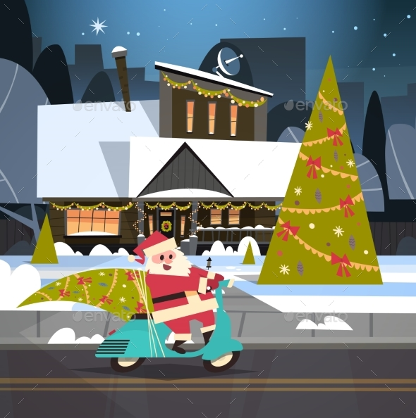 Santa Driving Scooter With Pine Tree, Merry