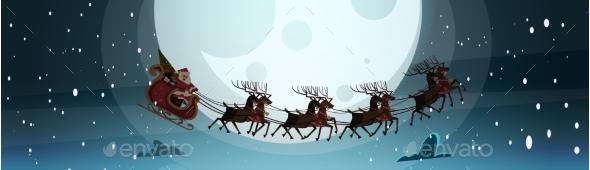 Santa Flying In Sledge With Reindeers In Night Sky