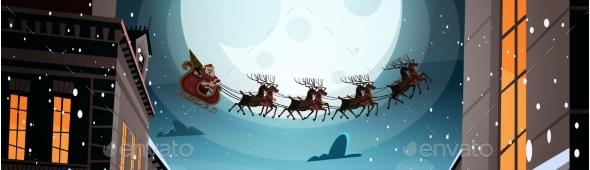 Santa Flying In Sleigh With Reindeers In Night Sky