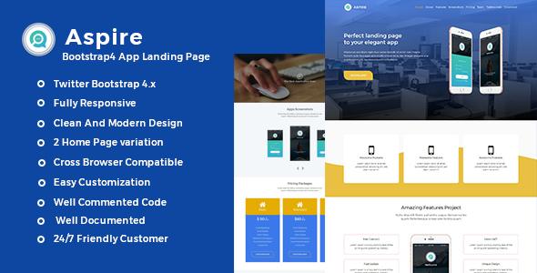 Aspire -Bootstrap4 App Landing Template