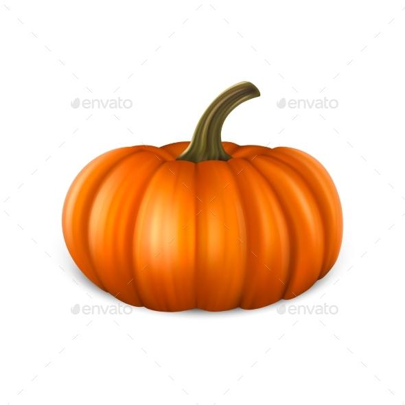 Realistic Pumpkin Icon Closeup Isolated on White