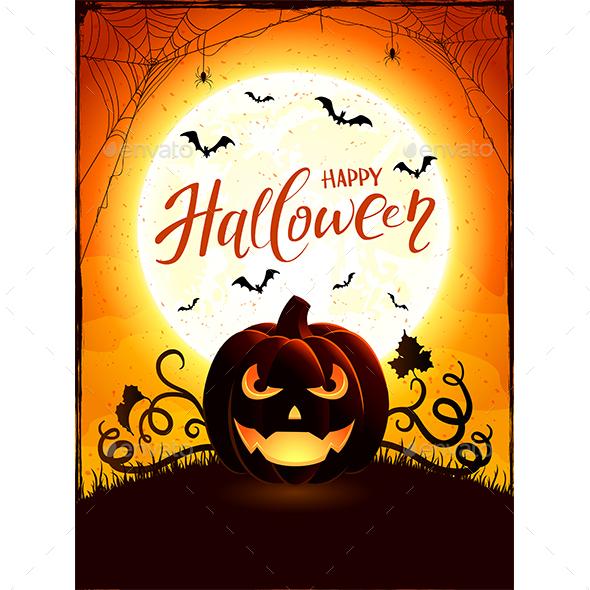 Orange Halloween Theme with Jack O Lantern on the Moon Background